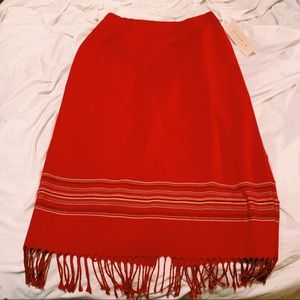 Red, form fitting skirt